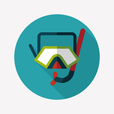 rubber band: Mask and snorkel flat icon with long shadow