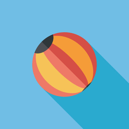 beach game: Beach ball flat icon with long shadow Illustration