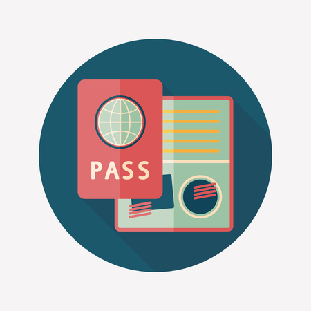 passport: Passport icon, flat icon with long shadow