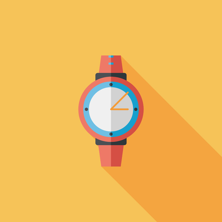 Wristwatch flat icon with long shadow Vector