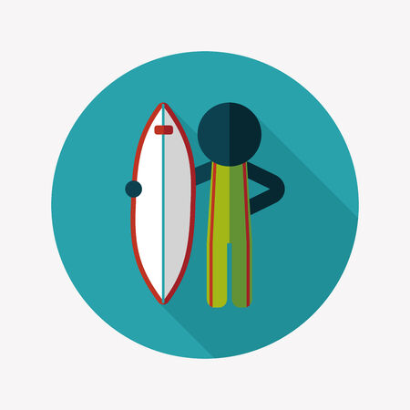 hydroplaning: surfing flat icon with long shadow Illustration