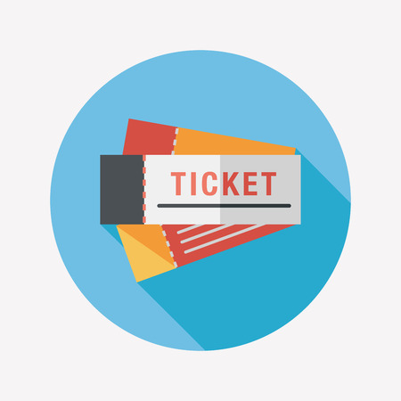Ticket flat icon with long shadow Vettoriali