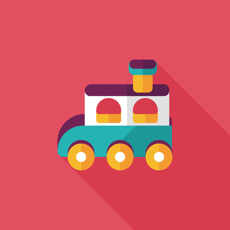 Train toy flat icon with long shadow,EPS 10 Vector