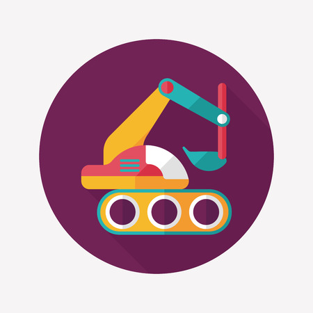 digger: Excavator digger flat icon with long shadow,eps 10