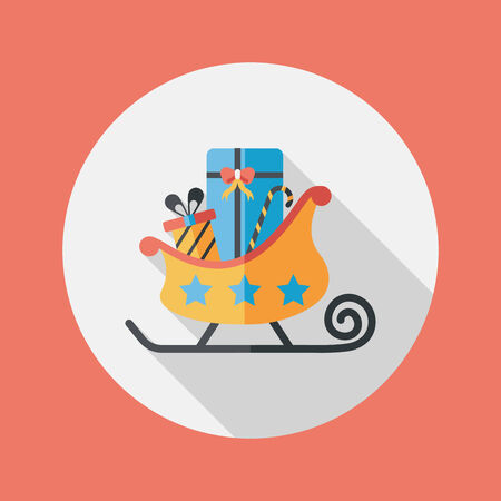 Christmas sleigh gift flat icon with long shadow Vector