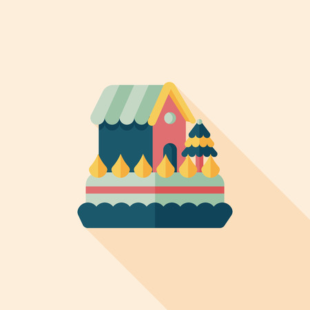 Christmas cake flat icon with long shadow