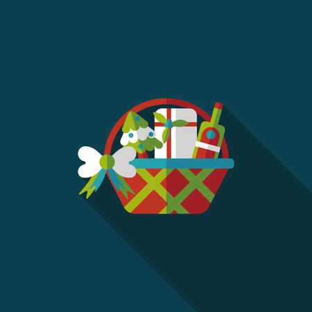 basket icon: Christmas gift baskets flat icon with long shadow Illustration