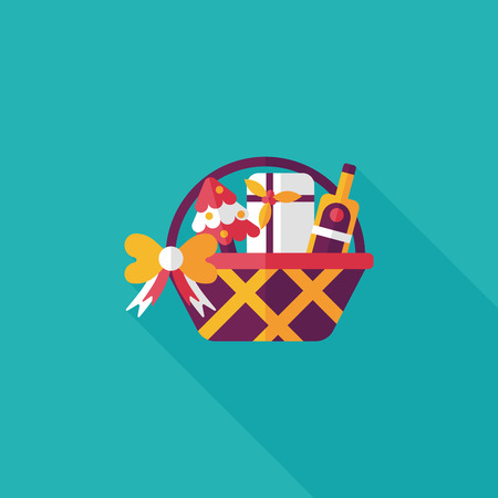 gift basket: Christmas gift baskets flat icon with long shadow Illustration