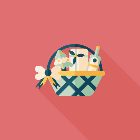 Christmas gift baskets flat icon with long shadow Vector