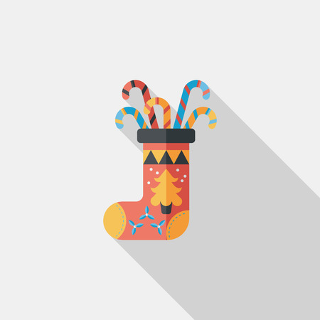 Christmas stocking flat icon with long shadow