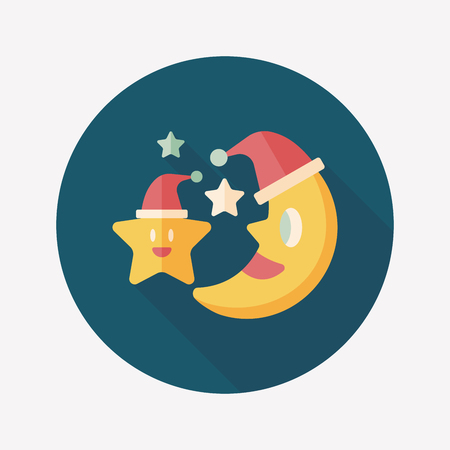 kerstmuts: maan en ster met kerstmuts vlakke icoon met lange schaduw