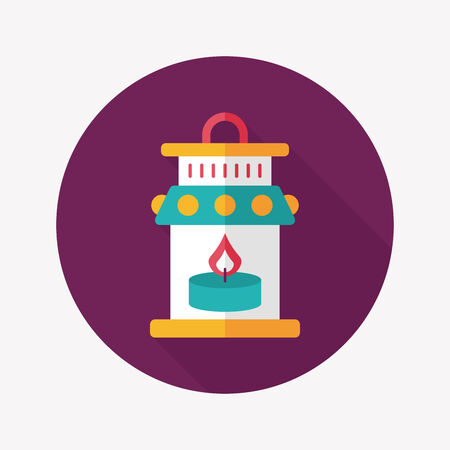 advent candles: Christmas lantern flat icon with long shadow