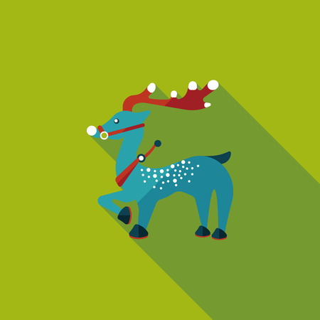 Reindeer flat icon with long shadow