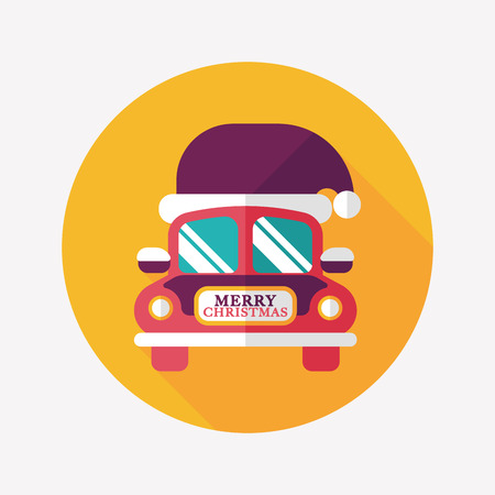 Christmas car flat icon with long shadow  Vector
