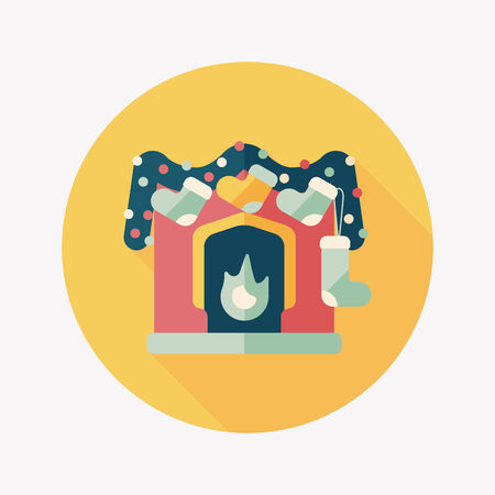 Christmas fireplace decoration flat icon with long shadow  Vector