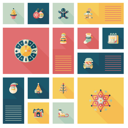 Merry Christmas ui flat icon with long shadow,eps10 Vector