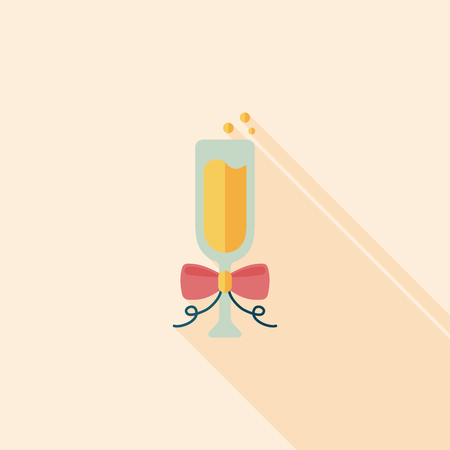 Champagne flat icon with long shadow Vector