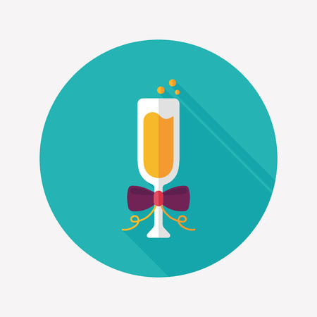 champaign: Champagne flat icon with long shadow