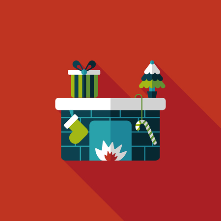 fireplace: Christmas fireplace flat icon with long shadow Illustration