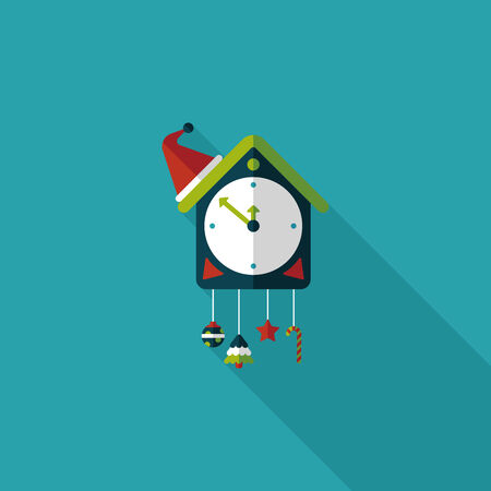 cuckoo clock: Icono plano de reloj de cuco con larga sombra