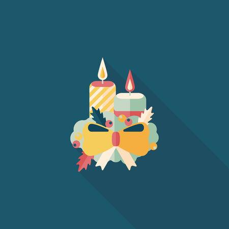adventskranz: Weihnachtskerze Flach Symbol mit langen Schatten.