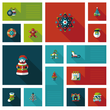 Merry Christmas ui flat icon with long shadow Vector