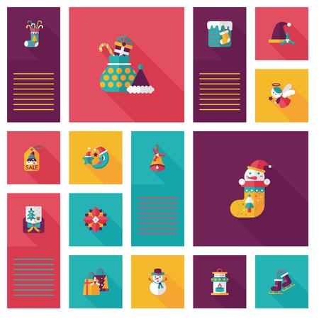 christmas sale: Merry Christmas flat icon with long shadow