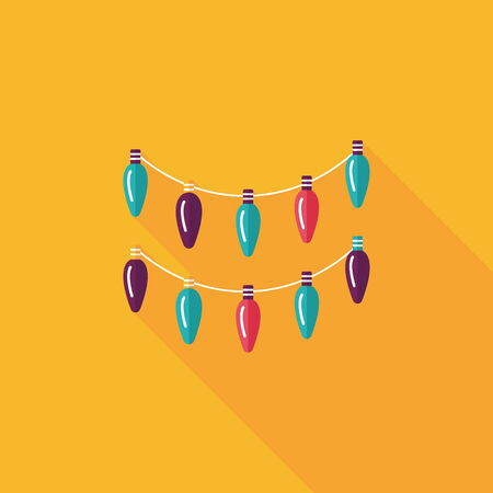light chains: Christmas light flat icon with long shadow