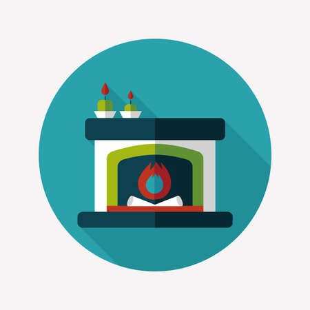 hearthside: Christmas fireplace flat icon with long shadow Illustration