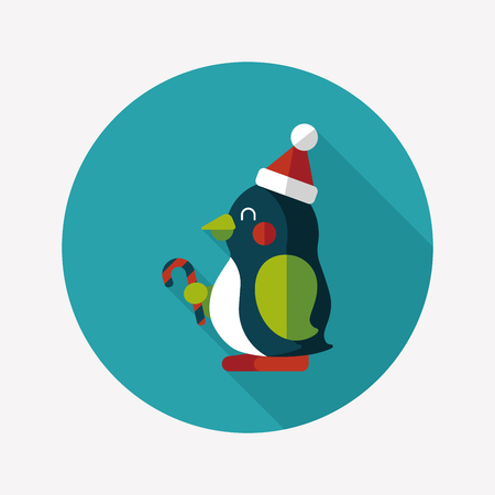 penguin flat icon with long shadow Vector