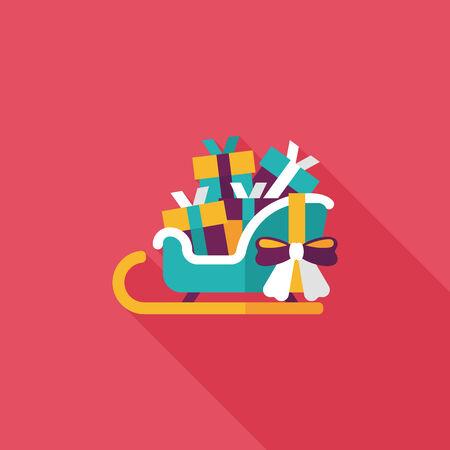 gift basket: Christmas sleigh gift basket flat icon with long shadow