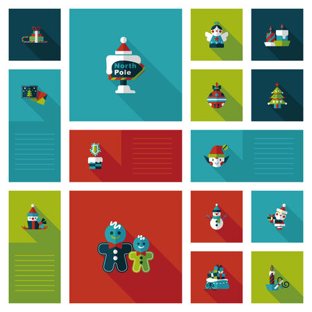 Merry Christmas flat app ui background Vector
