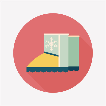 cragsman: winter boot flat icon with long shadow Illustration