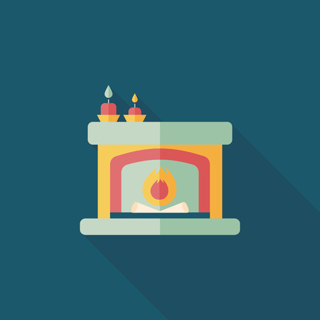 family living room: Christmas fireplace flat icon with long shadow Illustration