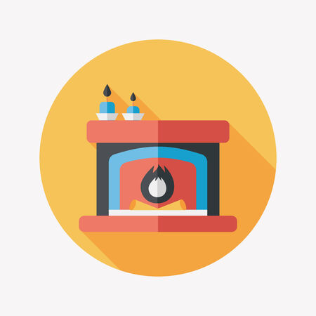christmastime: Christmas fireplace flat icon with long shadow Illustration