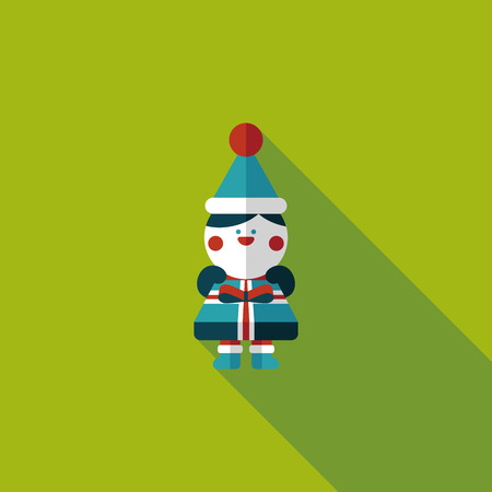 Christmas boy flat icon with long shadow Vector