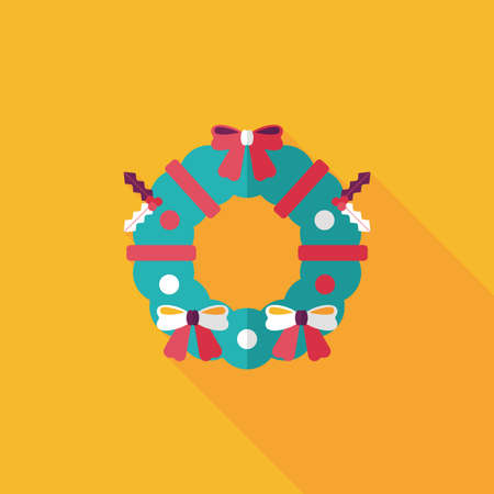 Christmas Holly Wreath flat icon with long shadow Vector