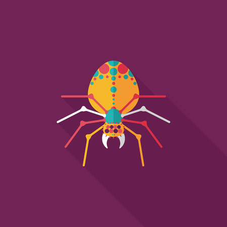 Halloween spider flat icon with long shadow