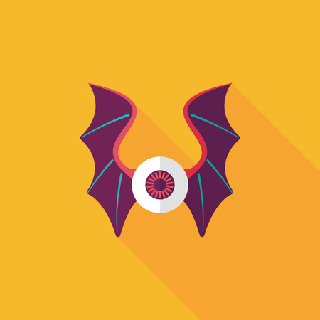 eye with bat wings flat icon with long shadow Illustration