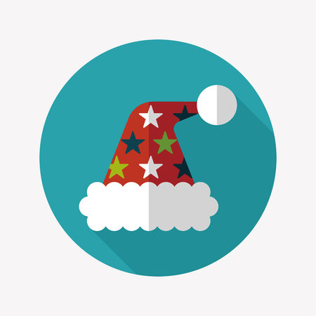 christmas hat: Christmas hat flat icon with long shadow Illustration