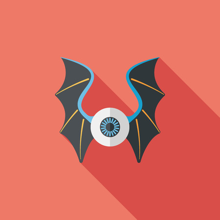 dusky: eye with bat wings flat icon with long shadow Illustration