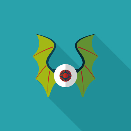 eye with bat wings flat icon with long shadow,eps10