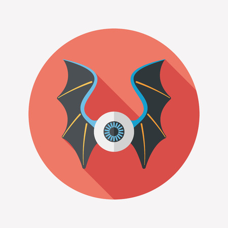 devil ray: eye with bat wings flat icon with long shadow Illustration