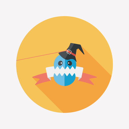dashes: Halloween flag flat icon with long shadow