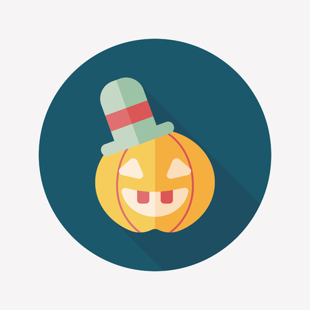 pumpkin flat icon with long shadow Vector