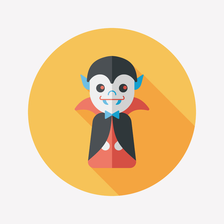 inhumane: Vampire flat icon with long shadow