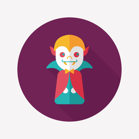 Vampire flat icon with long shadow