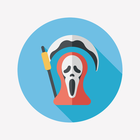 Grim Reaper flat icon with long shadow