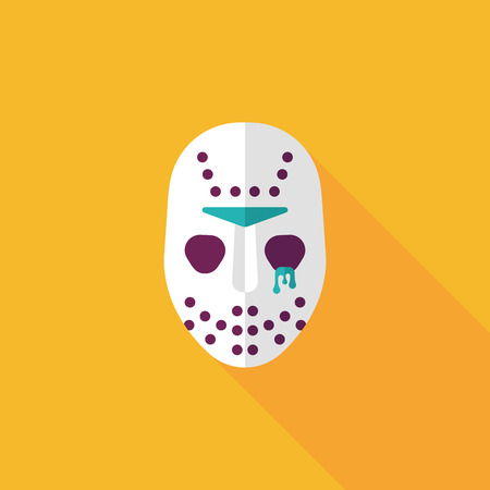 Halloween mask flat icon with long shadow Vector