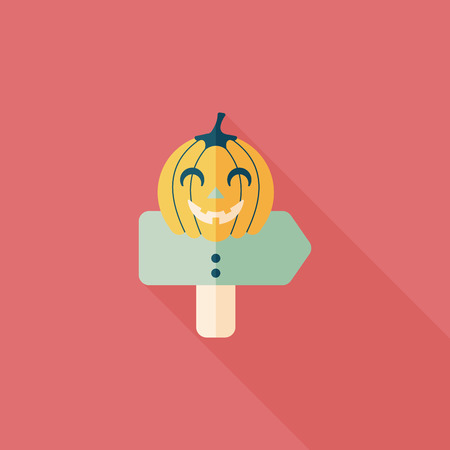 pumpkin sign flat icon with long shadow Vector